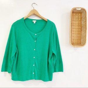 J. Jill Linen Blend Button Up Cardigan Sweater